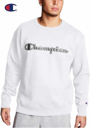 CHAMPION – Powerblend Fleece Crew; Logo With White Chainstitch