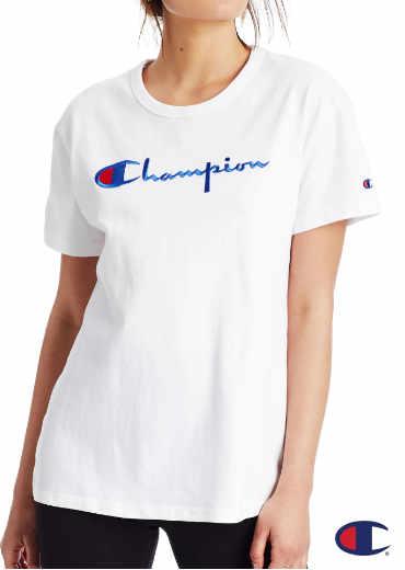 CHAMPION – Boyfriend Tee, Embroidered Logo