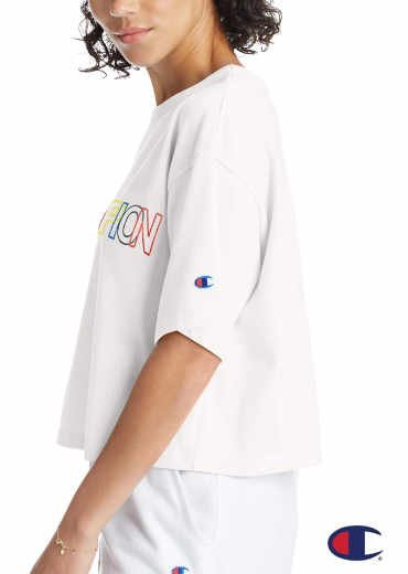 CHAMPION – Heritage Crop Tee, Embroidered Multi-Color Logo