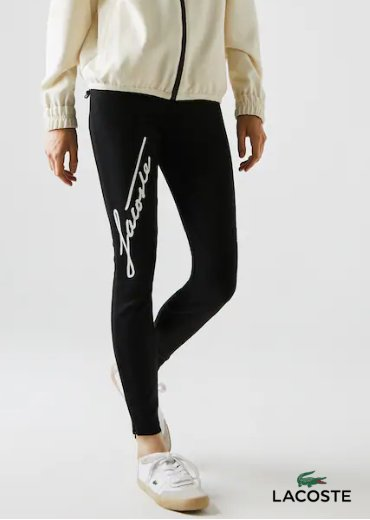 LACOSTE – Contrast Signature High-Waisted Leggings